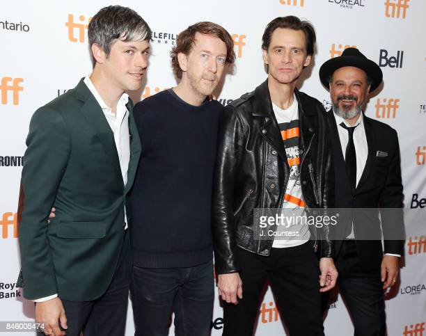 Danny Gabai actor/comedian Jim Carrey director Chris Smith and Eddy Moretti attend the premiere of 'Jim Andy The Great Beyond' during the 2017...