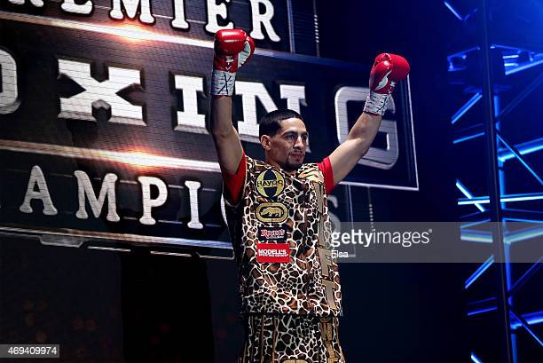 Danny Garcia enters before his fight with Lamont Peterson during the Premier Boxing Champions Middleweight bout at Barclays Center on April 11 2015...