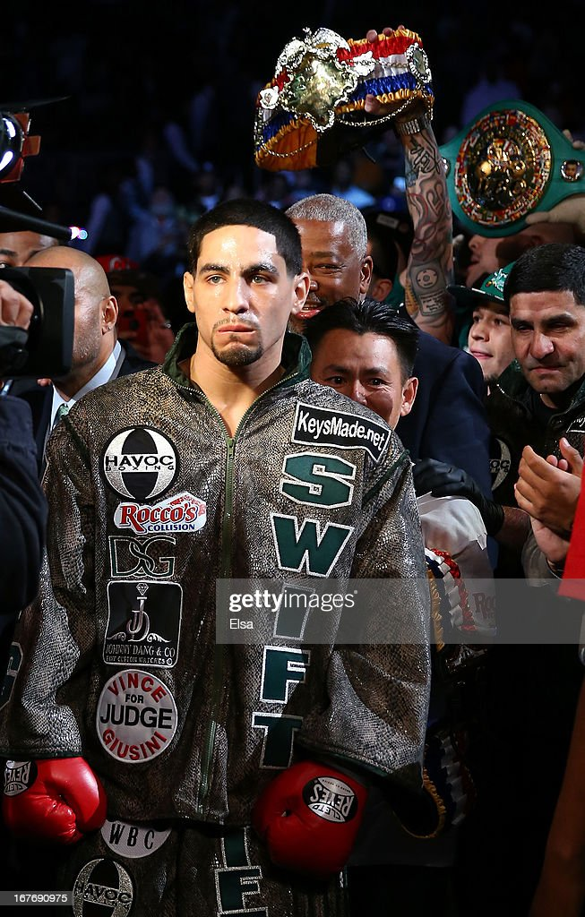 Danny Garcia enters the ring before his fight against Zab Judah for the WBA Super and WBC Super Lightweight title at Barclays Center on April 27, 2013 in the Brooklyn borough of New York City.Garcia was declared the winner after 12 rounds.