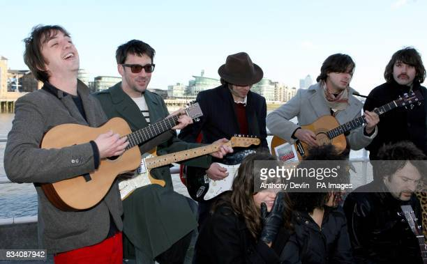Danny Goffey from Supergrass Graham Coxon from Blur Gaz Coombes from Supergrass Carl Barat and Didz Hammond from Dirty Pretty Things Sarah Jones...