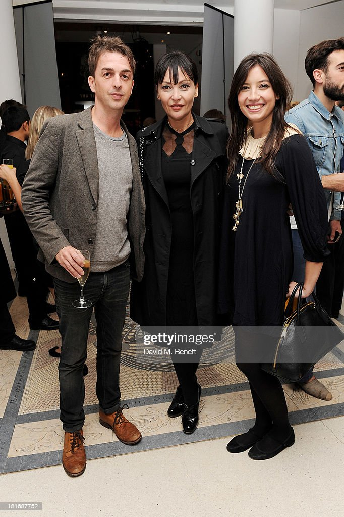 Danny Goffey, Pearl Lowe and Daisy Lowe attend the Macmillan De'Longhi Art Auction, raising money for Macmillan Cancer Support, at Royal College of Art on September 23, 2013 in London, England