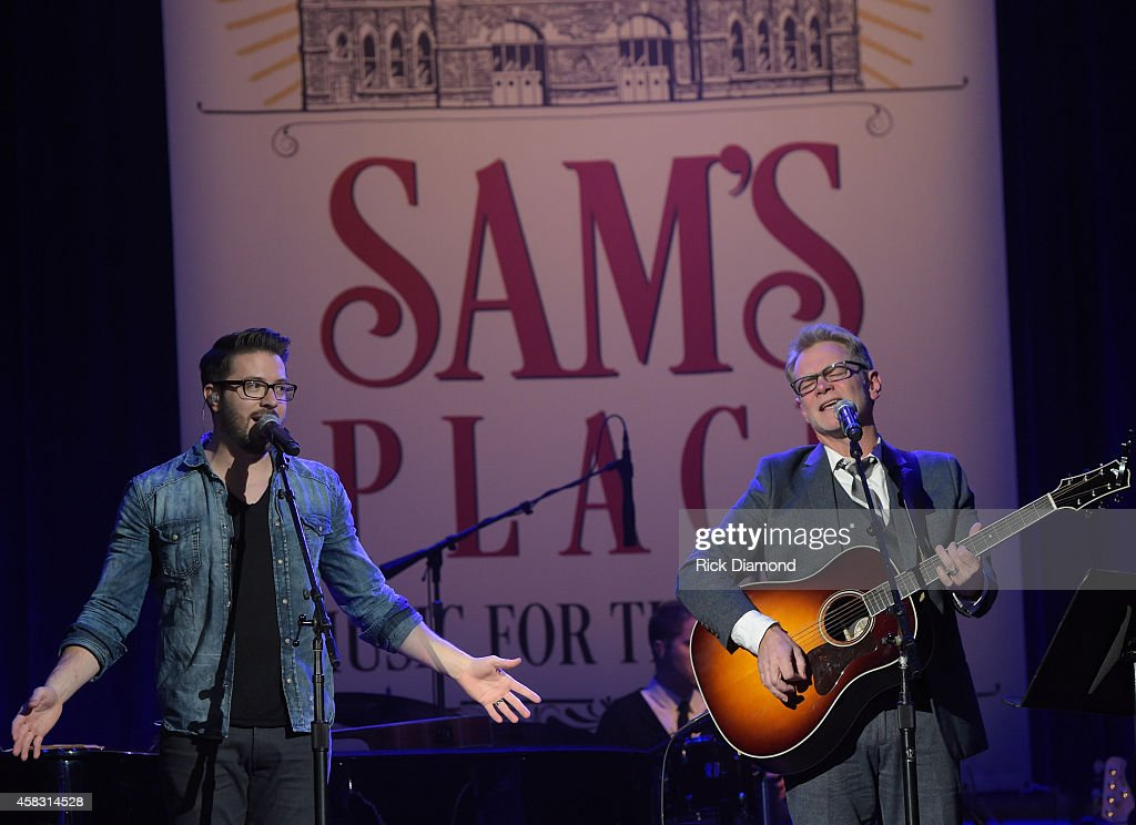 Danny Gokey and Steven Curtis Chapman perform at the first of six monthly concerts hosted by Steven Curtis Chapman, Sam's Place - Music For The Spirit at Ryman Auditorium on November 2, 2014 in Nashville, Tennessee.