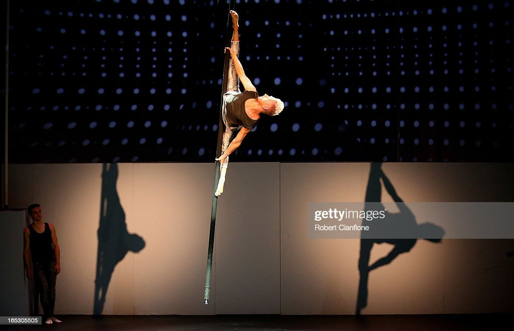 Danny Golding performs on the swinging pole during a National Institute of Circus Arts photo call for 'Leap of Faith: Circus in Motion' at NICA on April 3, 2013 in Melbourne, Australia.