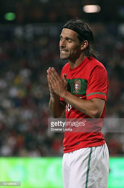 Danny Gomes of Portugal reacts to a play during the international friendly match against Mozambique at Wanderers Stadium on June 8 2010 in...