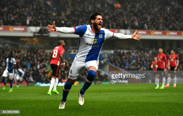 Danny Graham of Blackburn Rovers celebrates as he scores their first goal during The Emirates FA Cup Fifth Round match between Blackburn Rovers and...