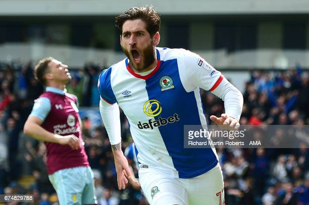 Danny Graham of Blackburn Rovers celebrates scoring the first goal during the Sky Bet Championship match between Blackburn Rovers and Aston Villa at...