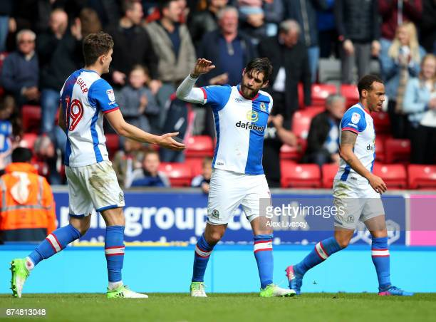 Danny Graham of Blackburn Rovers celebrates scoring the opening goal with Sam Gallagher during the Sky Bet Championship match between Blackburn...