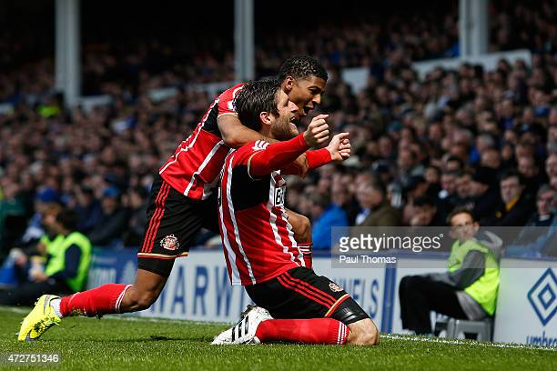 Danny Graham of Sunderland celebrates scoring the opening goal with Patrick van Aanholt of Sunderland during the Barclays Premier League match...
