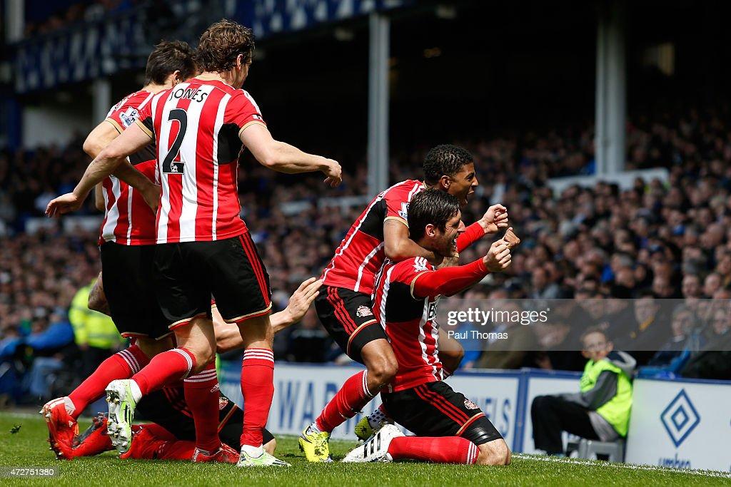 Danny Graham of Sunderland celebrates scoring the opening goal with Patrick van Aanholt of Sunderland during the Barclays Premier League match...
