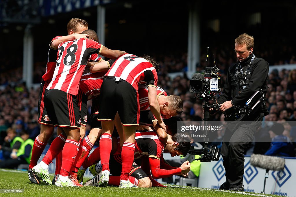Danny Graham of Sunderland celebrates scoring the opening goal with team mates during the Barclays Premier League match between Everton and...