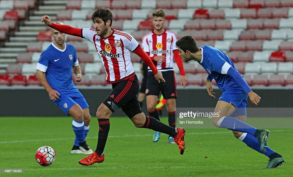 Danny Graham of Sunderland (L) during the Barclays Premier League International Cup match between Sunderland and Athletic Bilbao at the Stadium of Light on November 11, 2015 in Sunderland, England.