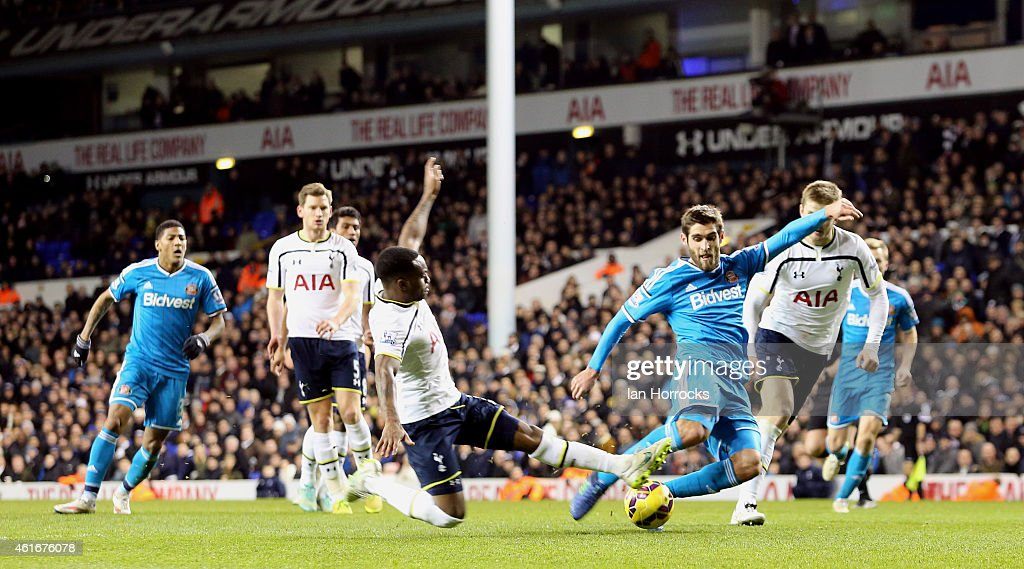 Danny Graham of Sunderland has his last minute shot saved by of Tottenham Hotspur keeper Hugo Lloris during the Barclays Premier League match between...