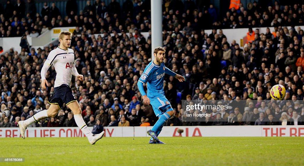 Danny Graham of Sunderland has his shot saved by of Tottenham Hotspur keeper Hugo Lloris during the Barclays Premier League match between Tottenham...
