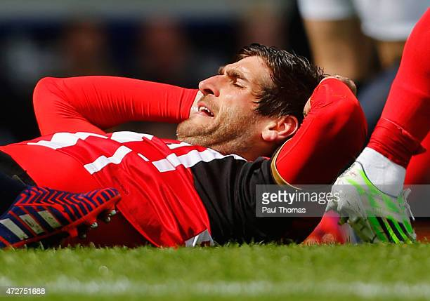 Danny Graham of Sunderland reacts during the Barclays Premier League match between Everton and Sunderland at Goodison Park on May 9 2015 in Liverpool...