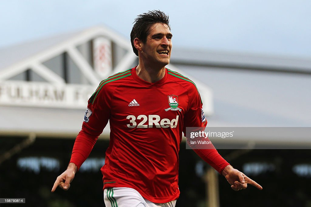 Danny Graham of Swansea City celebrates scoring during the Barclays Premier League match between Fulham and Swansea City at Craven Cottage on December 29, 2012 in London, England.
