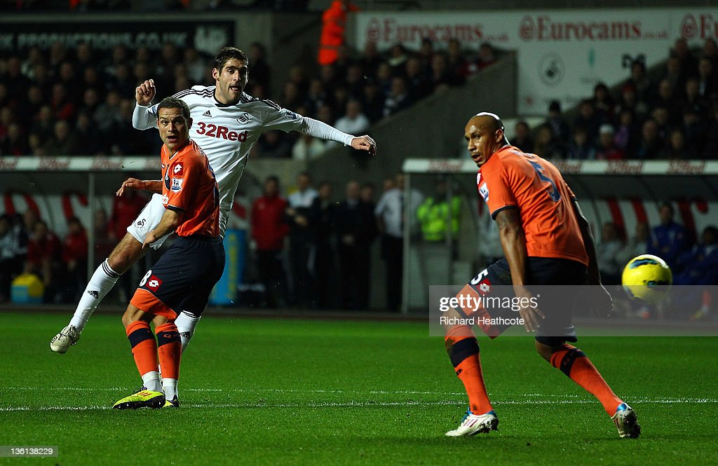 Danny Graham of Swansea scores the opening goal during the Barclays Premier League match between Swansea City and Queens Park Rangers at the Liberty...
