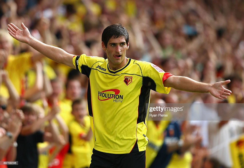 Danny Graham of Watford celebrates after scoring his team's first goal during the Coca Cola Championship match between Watford and Doncaster Rovers...