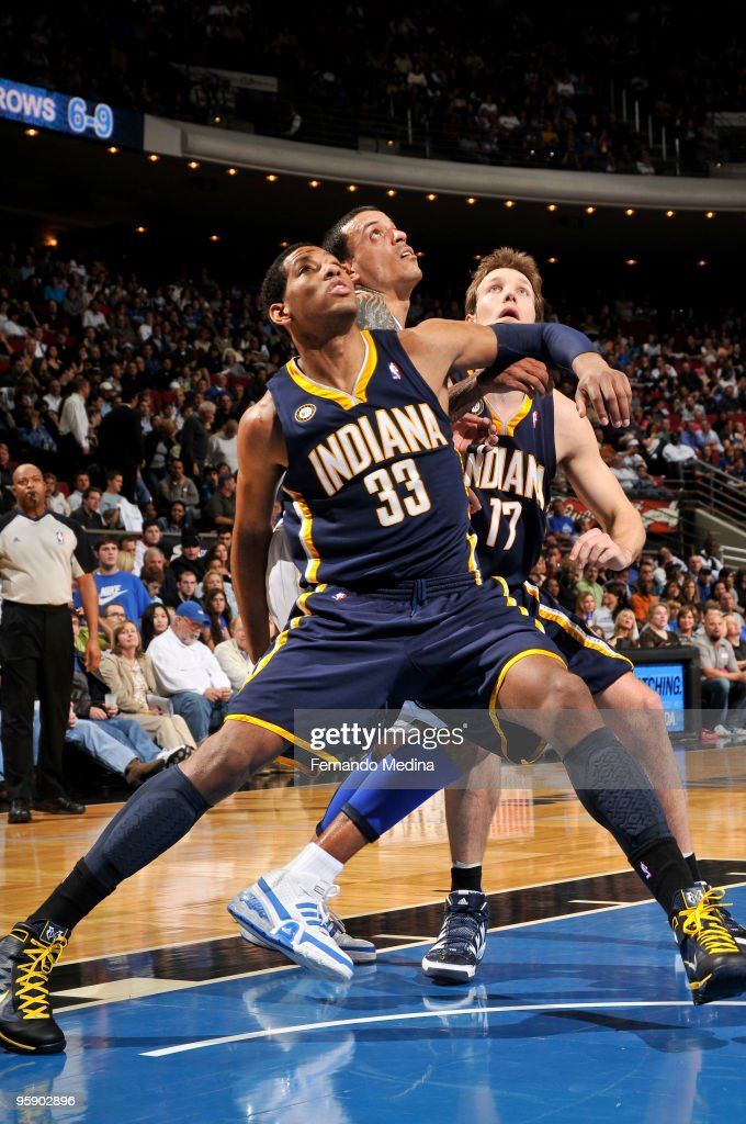 Danny Granger of the Indiana Pacers boxes out against Matt Barnes of the Orlando Magic during the game on January 20 2010 at Amway Arena in Orlando...