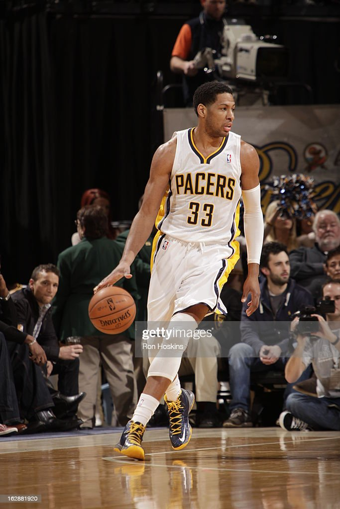 <a gi-track='captionPersonalityLinkClicked' href=/galleries/search?phrase=Danny+Granger&family=editorial&specificpeople=553769 ng-click='$event.stopPropagation()'>Danny Granger</a> #33 of the Indiana Pacers dribbles the ball against the Los Angeles Clippers on February 28, 2013 at Bankers Life Fieldhouse in Indianapolis, Indiana.