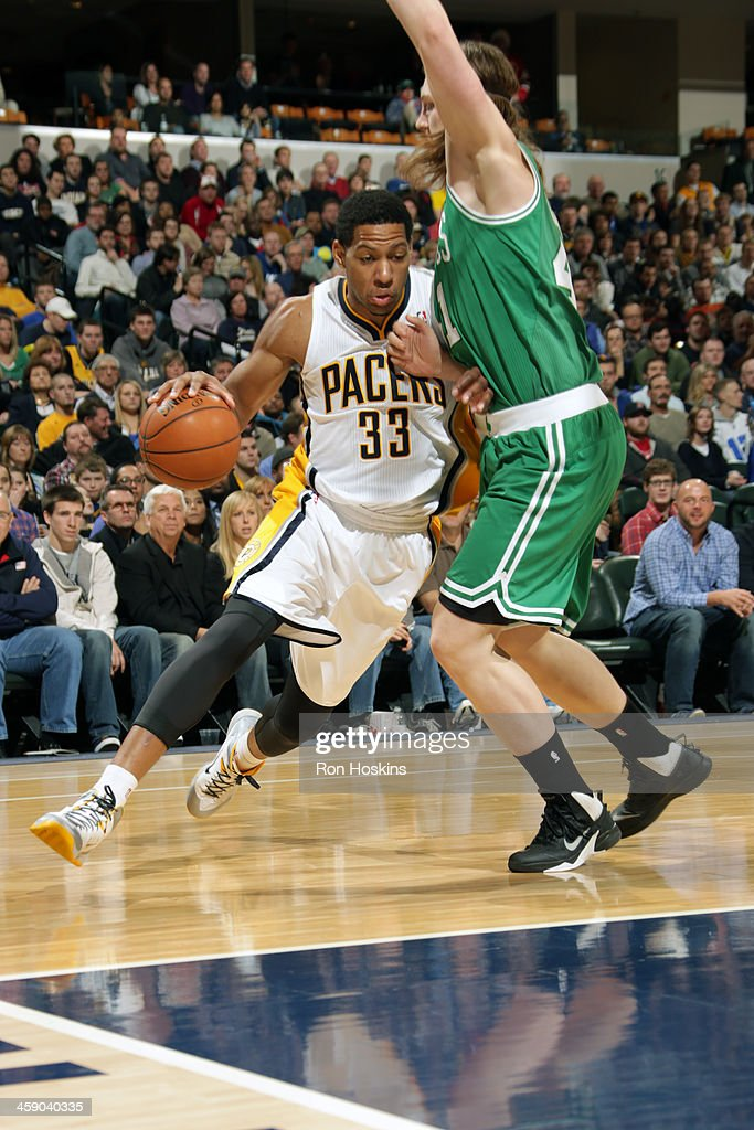 Danny Granger #33 of the Indiana Pacers drives to the basket against the Boston Celtics on December 22, 2013 in Indianapolis, Indiana at Bankers Life Fieldhouse.