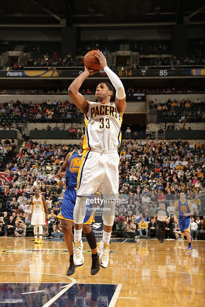 Danny Granger #33 of the Indiana Pacers goes up for the easy bucket against the Golden State Warriors on February 26, 2013 at Bankers Life Fieldhouse in Indianapolis, Indiana.