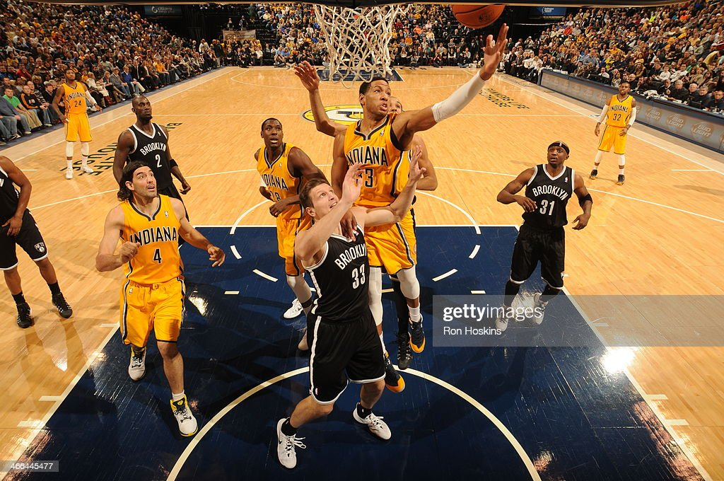 <a gi-track='captionPersonalityLinkClicked' href=/galleries/search?phrase=Danny+Granger&family=editorial&specificpeople=553769 ng-click='$event.stopPropagation()'>Danny Granger</a> #33 of the Indiana Pacers grabs a rebound against the Brooklyn Nets at Bankers Life Fieldhouse on February 1, 2014 in Indianapolis, Indiana.