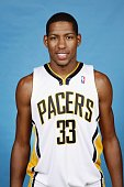 Danny Granger of the Indiana Pacers poses for a portrait during NBA Media Day at Conseco Fieldhouse on October 1 2007 in Indianapolis Indiana NOTE TO...