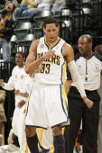 Danny Granger of the Indiana Pacers reacts after hitting a three against the Utah Jazz at Conseco Fieldhouse on March 26 2010 in Indianapolis Indiana...