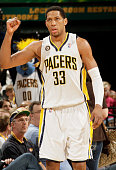 Danny Granger of the Indiana Pacers reacts after hitting a three against the Houston Rockets at Conseco Fieldhouse on April 4 2010 in Indianapolis...