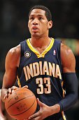 Danny Granger of the Indiana Pacers shoots a free throw against the Chicago Bulls during the game on February 24 2010 at the United Center in Chicago...