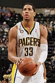 Danny Granger of the Indiana Pacers shoots a free throw against the Detroit Pistons during the game on March 19 2010 at Conseco Fieldhouse in...