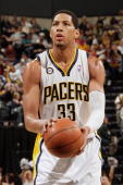 Danny Granger of the Indiana Pacers shoots a free throw against the Oklahoma City Thunder during the game on March 21 2010 at Conseco Fieldhouse in...
