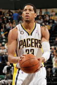 Danny Granger of the Indiana Pacers shoots a free throw against the Washington Wizards during the game on March 24 2010 at Conseco Fieldhouse in...