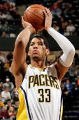 Danny Granger of the Indiana Pacers shoots a free throw against the Utah Jazz during the game on March 26 2010 at Conseco Fieldhouse in Indianapolis...