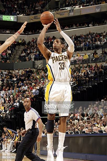 Danny Granger of the Indiana Pacers shoots a jump shot during the game against the Cleveland Cavaliers at Conseco Fieldhouse on April 13 2009 in...