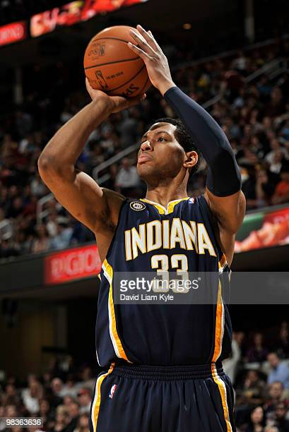 Danny Granger of the Indiana Pacers shoots the jumper against the Cleveland Cavaliers on April 9 2010 at The Quicken Loans Arena in Cleveland Ohio...