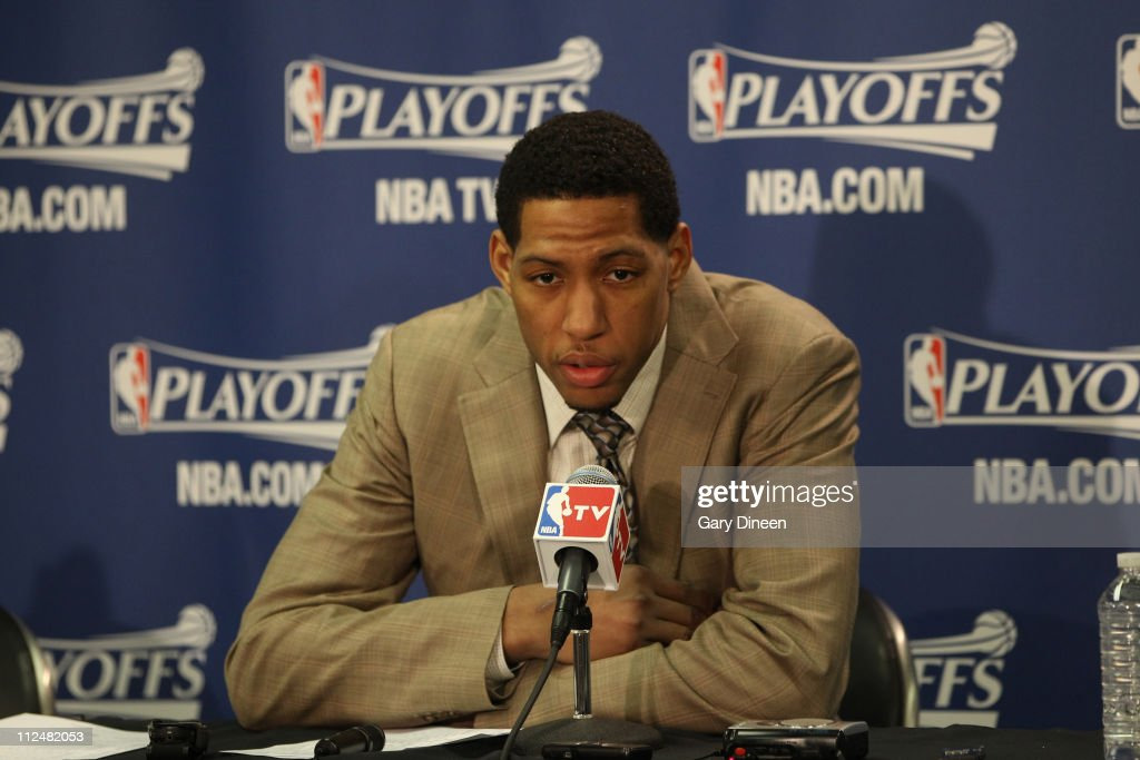 Danny Granger #33 of the Indiana Pacers talks during the press conference after Game Two of the Eastern Conference Quarterfinals against the Chicago Bulls in the 2011 NBA Playoffs on April 18, 2011 at the United Center in Chicago, Illinois.