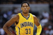 Danny Granger of the Indiana Pacers watches free throws during action against the Chicago Bulls on October 5 2013 at Bankers Life Fieldhouse in...