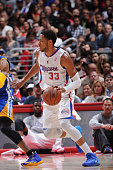 Danny Granger of the Los Angeles Clippers handles the ball against the Golden State Warriors at Staples Center on March 12 2014 in Los Angeles...