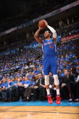 Danny Granger of the Los Angeles Clippers shoots the ball against the Oklahoma City Thunder in Game 1 of the Western Conference Semifinals during the...