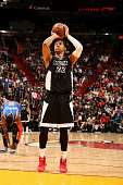 Danny Granger of the Miami Heat attempts a free throw against the New York Knicks on February 9 2015 at American Airlines Arena in Miami Florida NOTE...