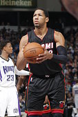 Danny Granger of the Miami Heat attempts a free throw shot against the Sacramento Kings on January 16 2015 at Sleep Train Arena in Sacramento...