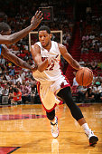 Danny Granger of the Miami Heat drives to the basket against the Orlando Magic at the American Airlines Arena in Miami Florida on October 7 2014 NOTE...