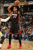 Danny Granger of the Miami Heat handles the ball against the Indiana Pacers during the game on December 31 2014 at Bankers Life Fieldhouse in...