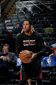 Danny Granger of the Miami Heat warms up before the game against the San Antonio Spurs on February 6 2015 at the ATT Center in San Antonio Texas NOTE...