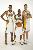 Danny Granger TJ Ford and Mike Dunleavy of the Indiana Pacers pose for a portrait during 2009 NBA Media Day on September 25 2009 at Conseco...