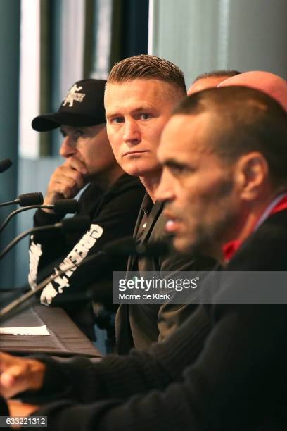 Danny Green and Anthony Mundine speak to media during the official press conference on February 1 2017 in Adelaide Australia