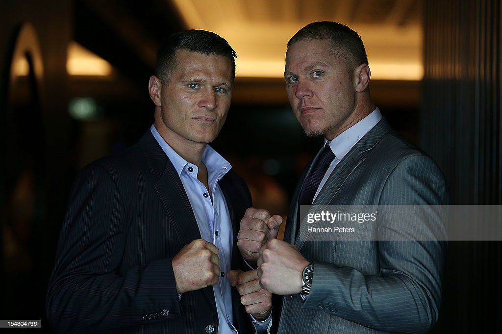 Danny Green and Shane Cameron pose for a photo following a press conference at Sky City Convention Centre on October 18 2012 in Auckland New Zealand