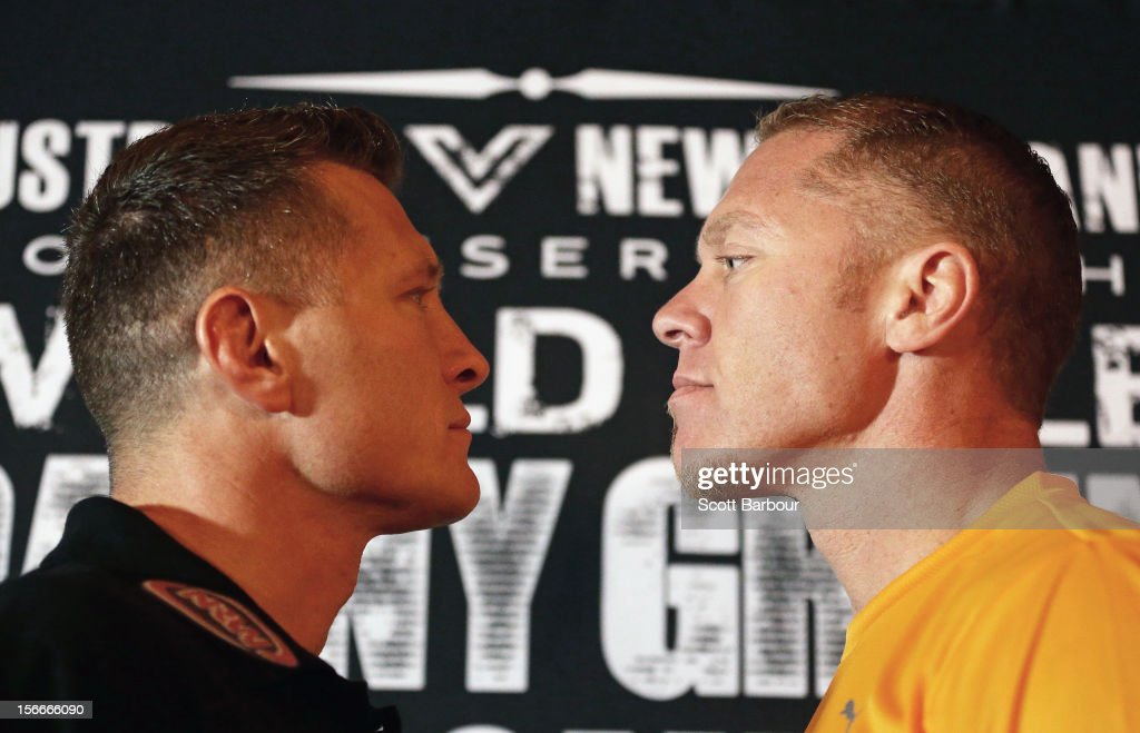 Danny Green of Australia and Shane Cameron of New Zealand face off during a press conference at Crown Entertainment Complex on November 19 2012 in...