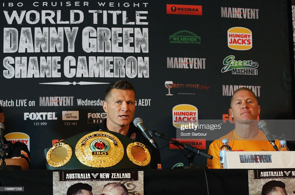 Danny Green (L) of Australia and <a gi-track='captionPersonalityLinkClicked' href=/galleries/search?phrase=Shane+Cameron&family=editorial&specificpeople=652869 ng-click='$event.stopPropagation()'>Shane Cameron</a> of New Zealand speak during a press conference at Crown Entertainment Complex on November 19, 2012 in Melbourne, Australia. Danny Green and <a gi-track='captionPersonalityLinkClicked' href=/galleries/search?phrase=Shane+Cameron&family=editorial&specificpeople=652869 ng-click='$event.stopPropagation()'>Shane Cameron</a> meet in an IBO World Title bout on Wednesday.